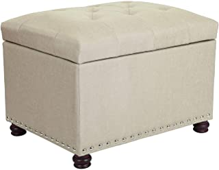 Adeco Classy Linen Blend Fabric Accents Rectangular Storage Bench Ottoman Footstool