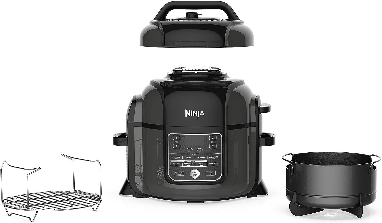 NINJA Foodi Cooker, Steamer & Air w/TenderCrisp Technology Pressure Cooker & Air Fryer All-in-One, 6.5 quart w/dehydrate, Black/Gray (Renewed)