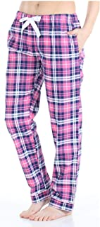 Image of Comfy Pink Plaid Pajama Pants for Women - Cotton Flannel