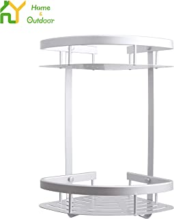 S.Y. Corner Shower Caddy Durable Aluminum Shower Organizer for Bathroom 2 Tiers Shower Shelf Both No Drilling & Drilling Self Adhesive No Damage Wall Mount