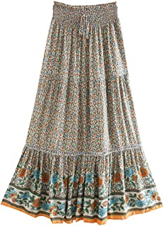 YWSZJ Vintage Chic Women Stampa Floreale Skirt Beach Skirt High Elastic Waist Rayon Cotone (Size : XL Code)