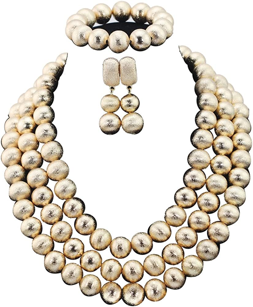 Africanbeads 4 Rows Large-scale sale Alloy Statement Nigerian Af Necklace Phoenix Mall Wedding