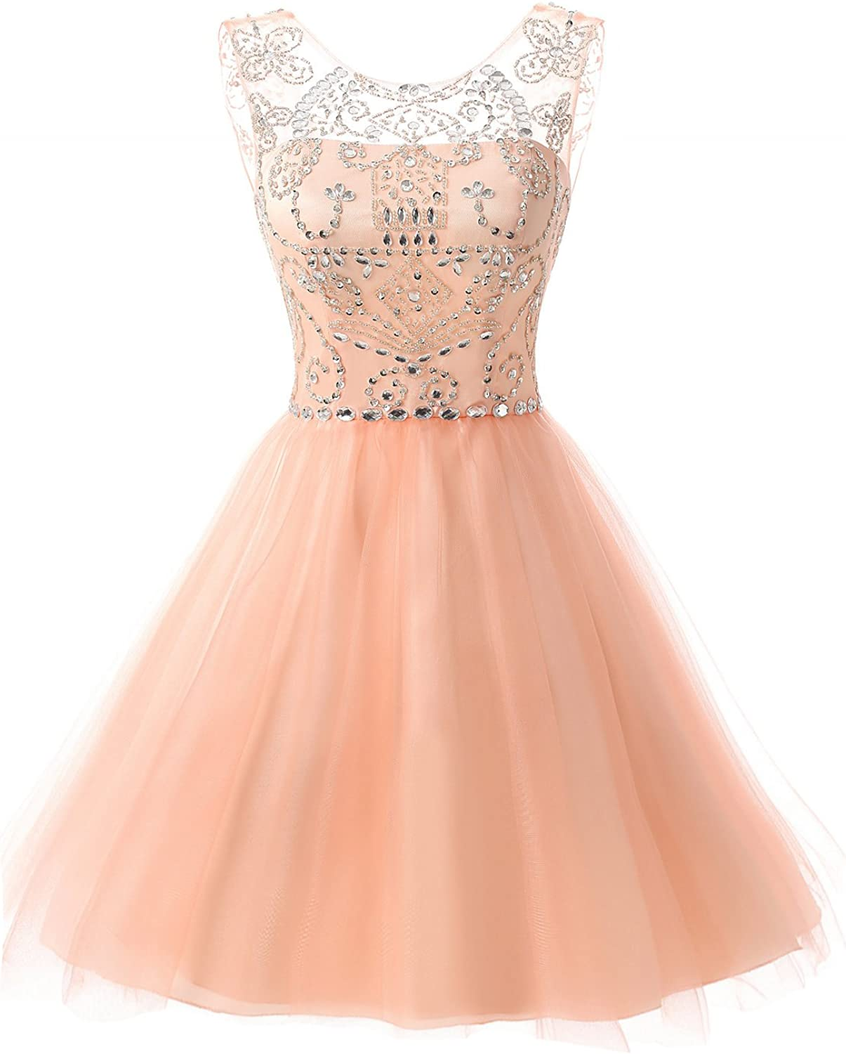 Belle House Women's Short Beaded Prom Gown Tulle Homecoming Dresses SD133