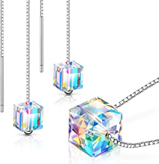 Hicarer Color Changing Crystal Jewelry Crystal Cube Necklace Earrings with Crystal Anniversary Birthday Wedding Gifts for Women Ladies GirlsLover