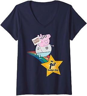 Femme Peppa Pig 1st Father's Day T-Shirt avec Col en V