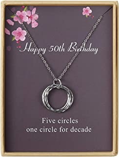 Happy Birthday Necklace Circles Pendant Necklace Birthday Gift for Women Girls 21st 30th 40th 50th 60th 70th 80th