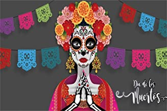 Leowefowa 10x6.5ft Day of The Dead Backdrop Dia De Los Muertos Photography Background Cartoon Praying Catrina Colorful Decoupages Fiesta Carnival Party Decoration Supplies Wallpaper
