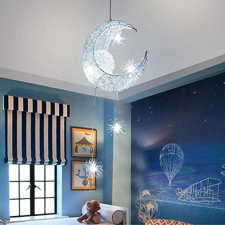 SOOTOP Lampes à Suspension en Forme D'étoile de Lune Lune Créative Et Étoiles Fée LED Suspension Lampe Lustre Plafonnier Éclairage de Chambre D'enfants Lampes de Chambre en Aluminium