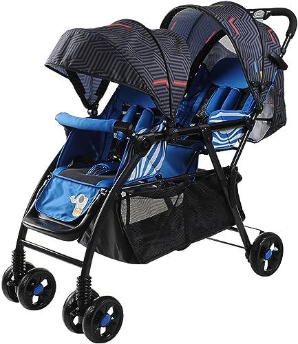 Twin Strollers Ultraleichter tragbarer faltender zurückhaltender doppelter Laufkatze (rot) (blau) 99  51  103cm ( Farbe   Blau )