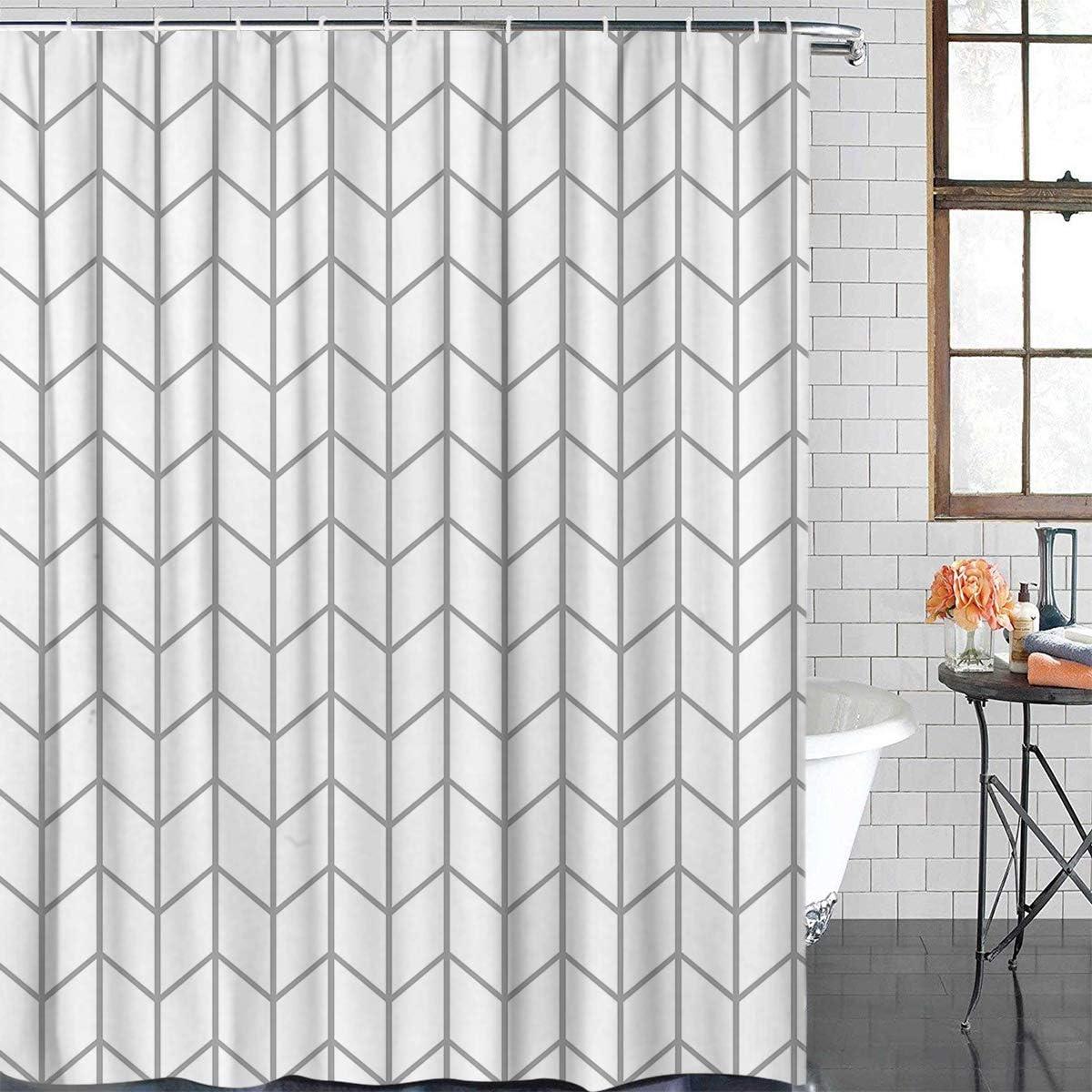 Popular Elegant Geometric Shower Curtains Challenge the lowest price Herringbone Fabric Polyester B