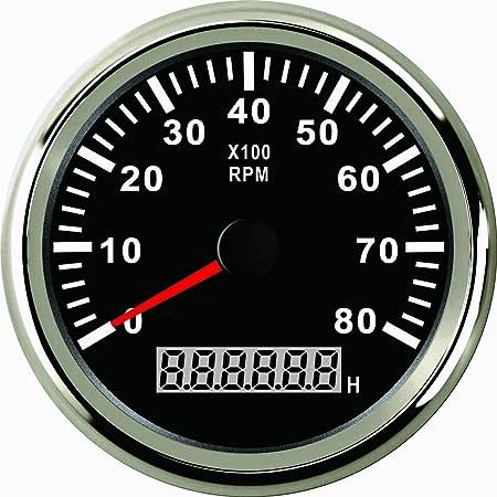 Eling Universeller Drehzahlmesser Drehzahlmesser Mit Stundenzähler 8000 U Min 85 Mm 9 32 V Mit Hintergrundbeleuchtung Auto