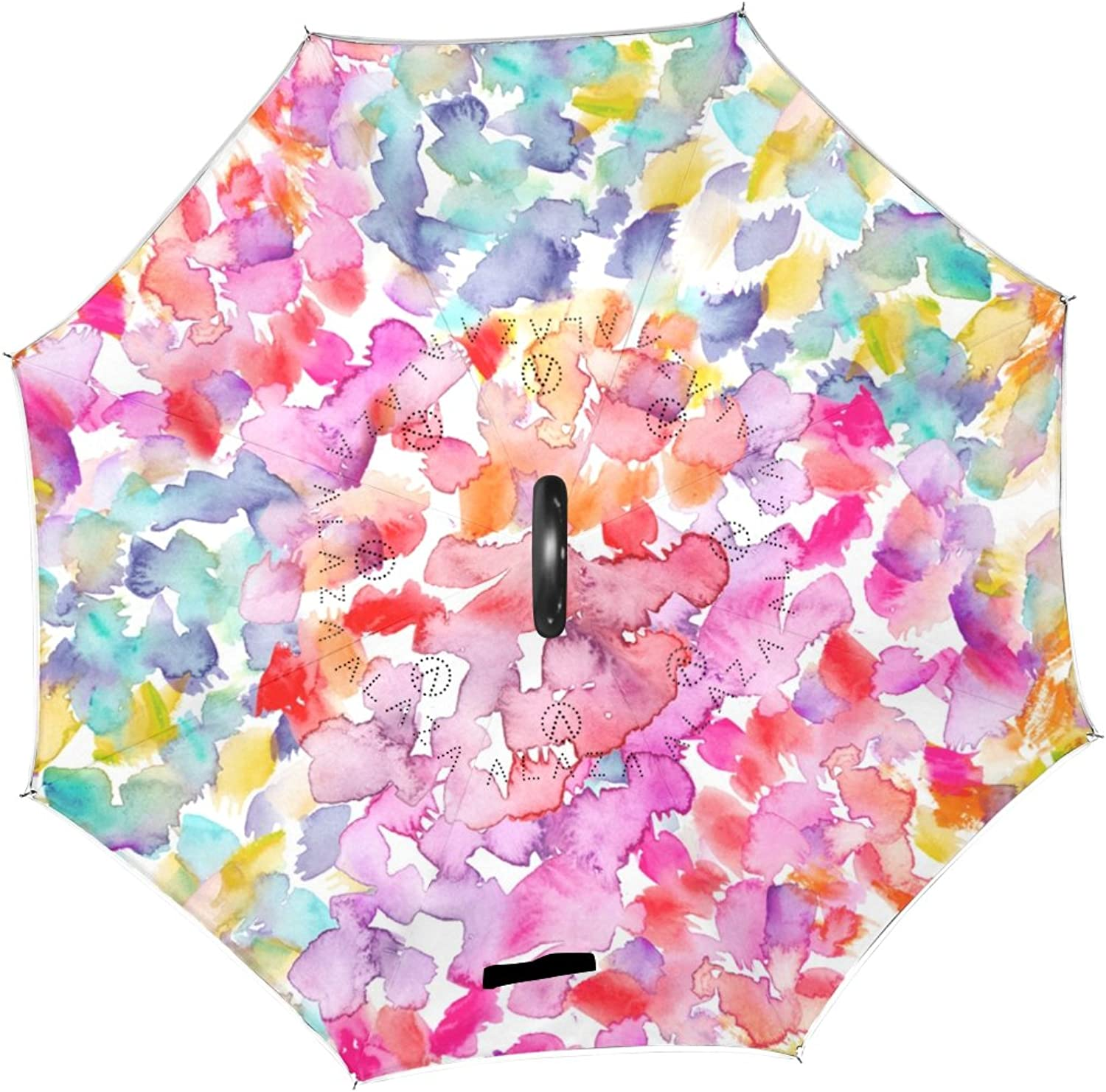 U LIFE Polka Dot Floral Flowers Reverse Ingreened Sun Rain Umbrellas for Car Outdoor Use With C-shaped Handle