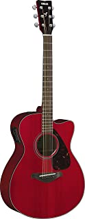 Yamaha FSX800C Small Body Solid Top Cutaway Acoustic-Electric Guitar, Ruby Red