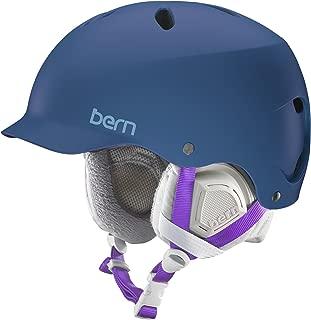 BERN 2016/17 Women's Lenox EPS Winter Snow Helmet - w/Knit Liner (Satin Navy Blue w/Grey Liner - XS/S)