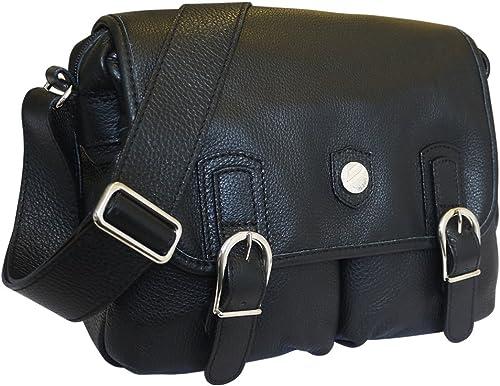 Bonfanti Doppio Designer Luxus italienische Leder Umh etasche Schultasche - Schwarz