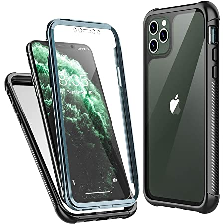Temdan iPhone 11 Pro Max Case,Full Body Built in Screen Protector Protect Bumper Case Support Wireless Charging, Heavy Duty Rugged Dropproof Cases for iPhone 11 Pro Max 6.5 inch 2019-(Black/Clear)
