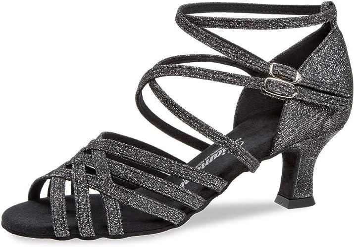 Diahommet Femmes Chaussures de Danse 108-036-519 - Brocart Noir-Argent - étroit - 5 cm Latino - Made in Gerhommey