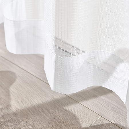 Hansleep レースカーテン 2枚 ホワイト 幅100cmx丈176cm UVカット ストライプ レースカーテン 遮熱 遮像 保温 省エネ 北欧 洗える 外から見えにくい…