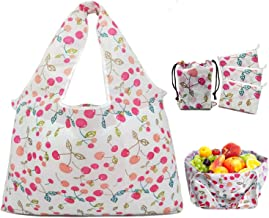 Cosotrish Grocery Shopping Bags Reusable Foldable 3 Pack, XL Size Support Over 50LB Heavy Duty, Waterproof Machine Washable Quick Dry Cute Cherry Pattern