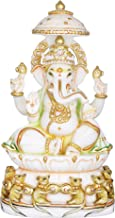 Lord Ganesha Seated on Lotus Chowki with Parasol, Base Decorated with Musician Mouses - White Marble