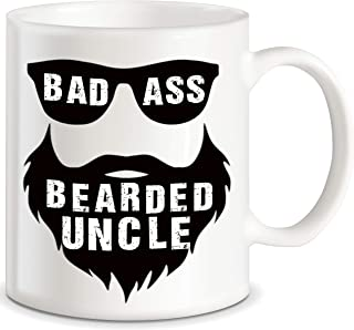 Bad Ass Bearded Uncle Gift Beard Uncle Funny Coffee Mug for New Uncle Brother Humorous Prank Joke Gag Gift from Niece Nephew Sister Mom Dad Novelty Gag Gift for Christmas Birthday Ceramic Mug Tea Cup