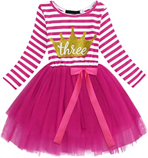 Baby Girl Princess Long Sleeve Shinny Stripe Crown Printed 1st/2nd/3rd Birthday Cake Smash Tulle Tutu Skirt Dress 1-3 Y