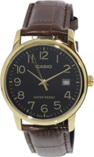 Casio #MTP-V002GL-1B Men's Standard Analog Gold Tone Leather Band Day Date Watch