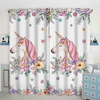 QH Window Curtain Panels Unicorn & Flower Pattern Blackout Curtain Panels Thermal Insulated & Light Blocking 42W x 84L inch (Set of 2 Panels)