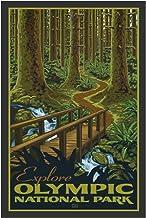"Olympic National Parkk Giclee Art Print Poster from Original Travel Artwork by Artist Paul Leighton 12"" x 18"""