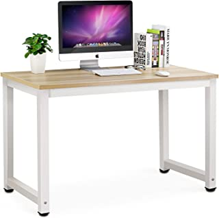 Tribesigns Computer Desk, 47 inch Modern Simple Office Desk Computer Table Study Writing Desk for Home Office, Light Walnut
