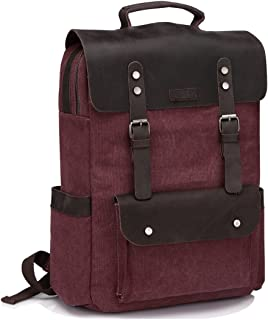 Vintage Leather Backpack,Vaschy Womens Laptop Backpack College Retro Outdoor Rucksack Travel Day-pack for 15in Laptop Burgundy
