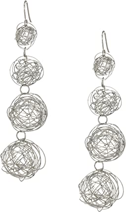 Kenneth Jay Lane - 4 Row Silver Wire Balls with Fishhook Ear Earrings