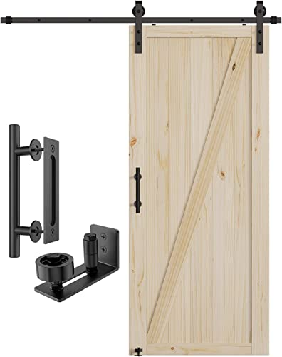 lowest Homlux 36in x 84in Barn Door with 6.6ft Sliding Barn Door Hardware Kit & 12inch Handle, Natural Pine Wood,DIY Unfinished Solid lowest Wood Door Slab,Pre-Drilled Holes for Easily Install,Interior wholesale Door,Z-Frame online