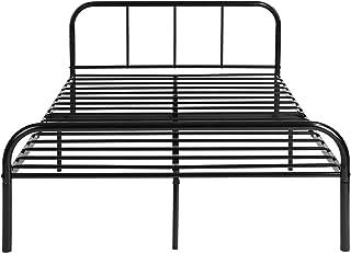 H.J WeDoo Cadre de lit en Métal Design pour 2 Personnes Cadre de Structure Métallique avec 10 Pieds en Métal et Sommier In...