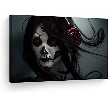 Amazon Com Day Of The Dead Gothic Girl Skull Make Up Rose On Hair Gray Background Canvas Print Sugar Skull Decor Wall Art Home Decor Stretched And Ready To Hang 100 Handmade In