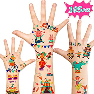 105pcs Temporary Tattoos for Kids, Circus Carnival Party Supplies Favors, Carnival Circus Games Prizes Toys Birthday Decorations Gift Accessories for Children Girls Boys