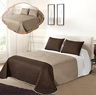 All American Collection New 3pc Solid Three Color Combination Reversible Bedspread Set (KING/ CAL KING, White/Beige/Coff