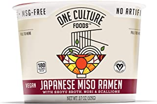 One Culture Foods Plant Based Instant Cup Noodles, Japanese Miso Ramen - Natural - Non-GMO (Pack of 8)