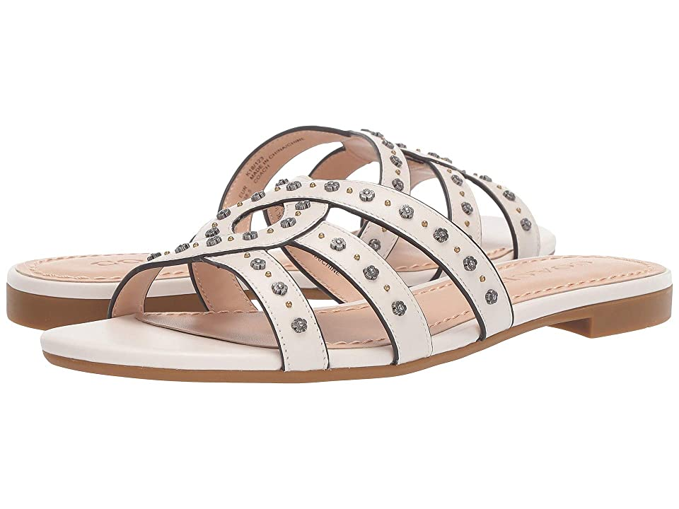 COACH Kennedy Flat Slide with Tea Rose Studs (Chalk Leather) Women