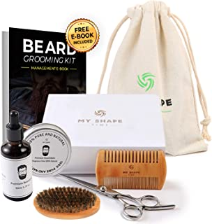 Beard Grooming Kit for Men – 100% safe and natural 2 oz Beard Oil 2 oz Beard Balm Beard Comb 17.50 cm and Beard Scissors designed to make your beard sleek and classy