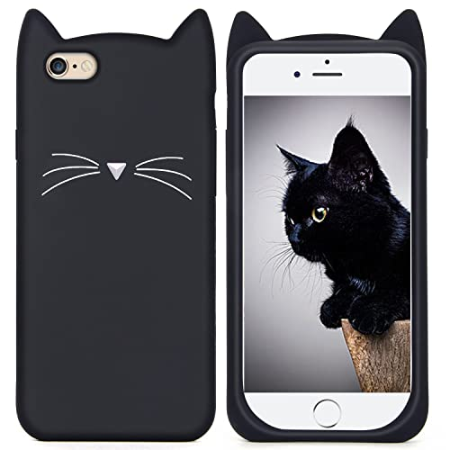 iPhone 6s Silicone Case,Imikoko™ Slim-Fit Anti-Scratch Shockproof Soft Silicone Case With Cute Cat Pattern for iPhone 6/6s (4.7 inch) (Black)