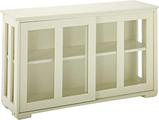 TMS Pacific Stackable Storage with Glass Door, Antique White