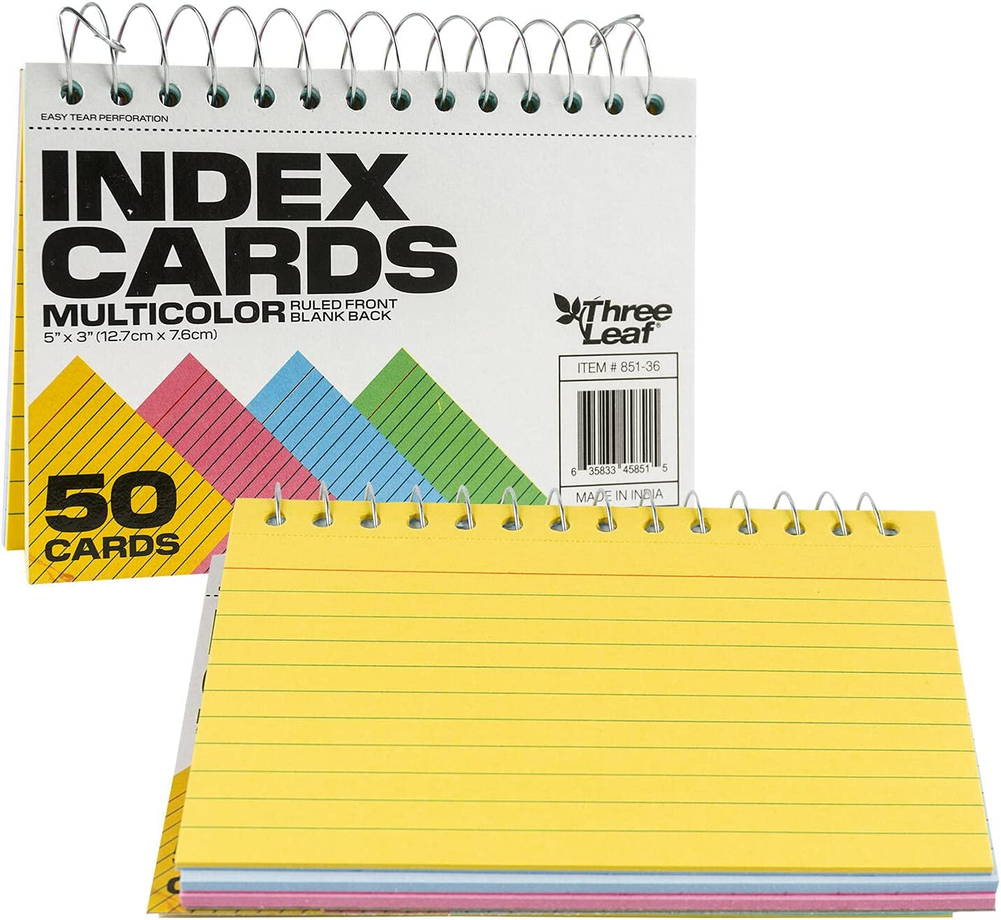 Spiral Bound Colored Index Card Popularity 3x5-Inch Perforat Ranking TOP8 Ruled Books