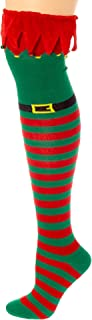 Christmas Holiday Novelty Knee High Socks for Teens, Tweens, Adults (Elf Costume Over the Knee Highs with Bells)