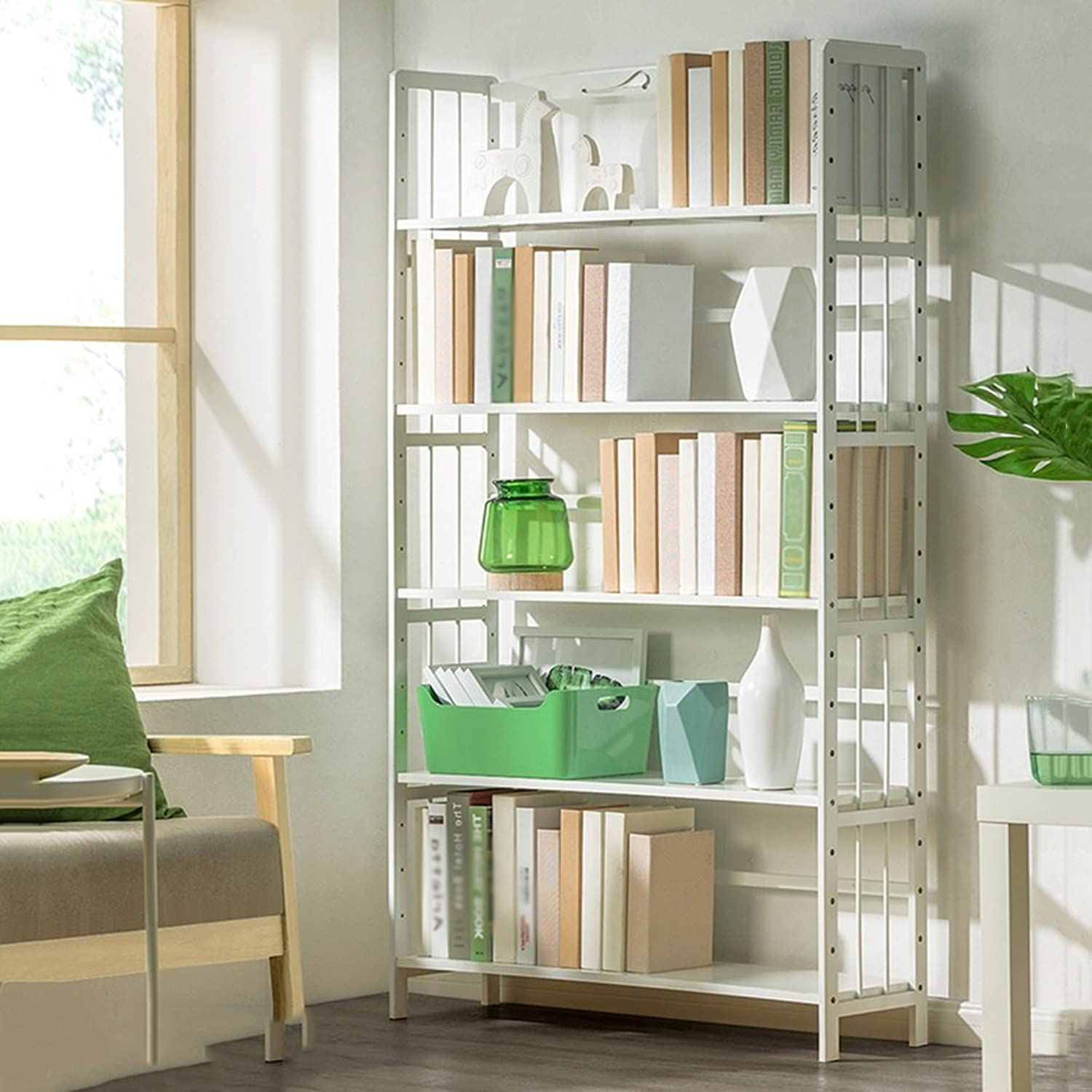 QIANGDA White Bookshelf Bookcase Bamboo Bookcase Multilayer Storage Rack Wood Commodity Shelf, 3 Tiers 4 Tiers 5 Tiers Optional (Size   50 x 25 x 157cm)