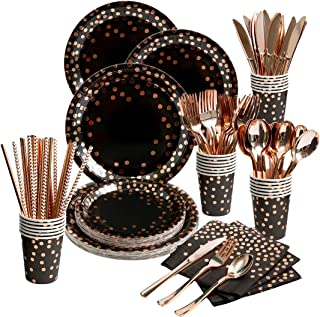 200 Pieces Black and Rose Gold Party Supplies - Rose Gold Dot on Black Paper Plates Napkins Straws and Cups Silverwares Se...