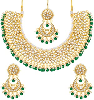 Aheli Faux Kundan Beads Strand Necklace Earrings Maang Tikka Bollywood Traditional Fashion Statement Jewelry Set for Women