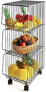 Mocosy Panier en Fil avec Roues et Couvercle, Support Utilitaire de Panier de Fruits Roulant empilable à 3 Niveaux, bac de...