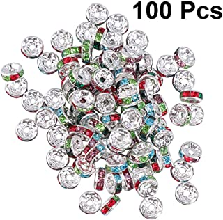 SUPVOX 100pcs Crystal Spacer Beads Rhinestone Silver Plated Rondelle Loose Beads for Jewelry Making DIY Craft 6mmシMixed Colorシ