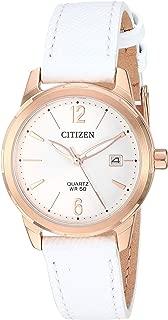 Citizen Women's Stainless Steel Japanese-Quartz Leather Calfskin Strap, White, 13 Casual Watch (Model: EU6073-02A)